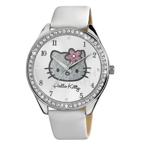 Dečji Hello Kitty Kristal Beli Roze ručni sat sa belim kožnim kaišem