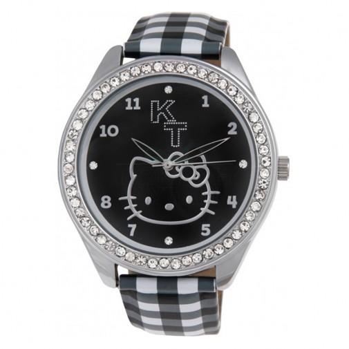 Dečji Hello Kitty Kristal Crni ručni sat sa kariranim kožnim kaišem