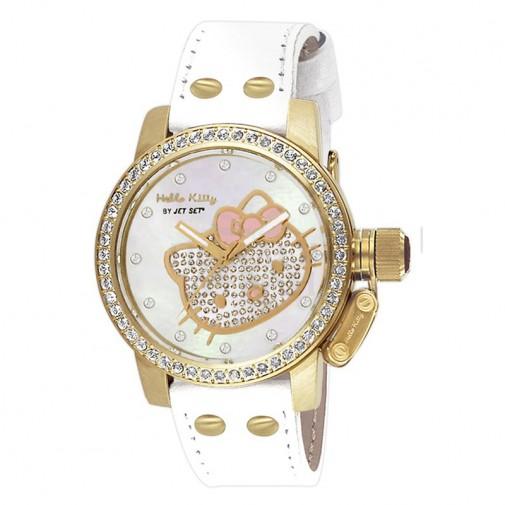 Dečji Hello Kitty Svetlucavi Zlatni ručni sat sa belim kožnim kaišem