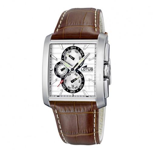 Muški Lotus Chrono Beli Kvadratni ručni sat sa braon kožnim kaišem