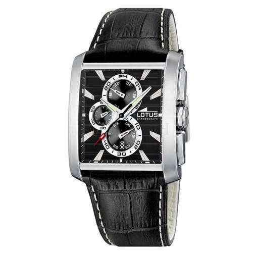 Muški Lotus Chrono Crni Kvadratni ručni sat sa crnim kožnim kaišem