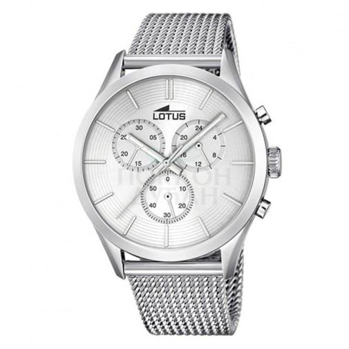 Muški Lotus Minimalist Srebrni Elegantni Hronograf ručni sat sa pancir kaišem