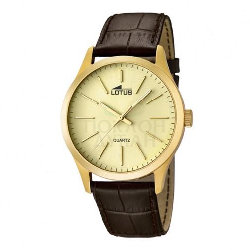 Muški Lotus Minimalist Zlatni Quartz Elegantni ručni sat sa braon kožnim kaišem
