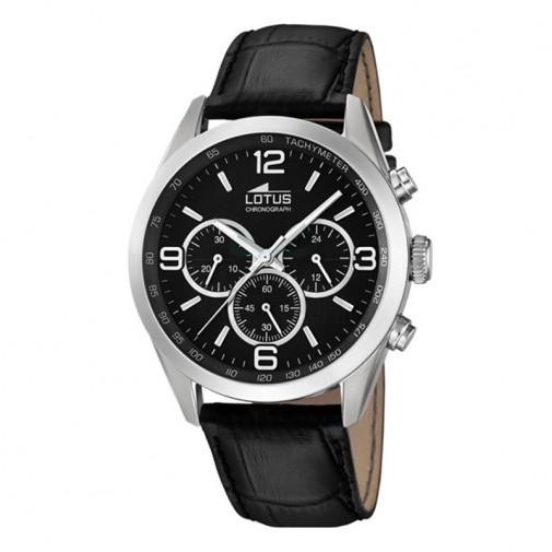 Muški Lotus Minimalist Crni Hronograf Elegantni ručni sat sa crnim kroko kožnim kaišem