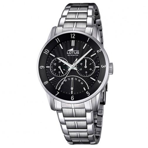 Muški Lotus Multifuncion Crni Elegantni ručni sat sa metalnim kaišem