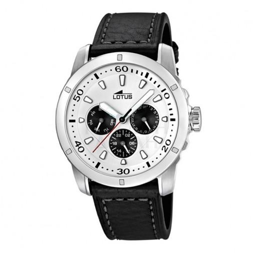Muški Lotus Multifuncion Belo Crni Sportski ručni sat sa minutnom skalom