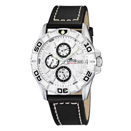 Muški Lotus Multifuncion Beli Sportski ručni sat sa minutnom koronom i crnim kožnim kaišem