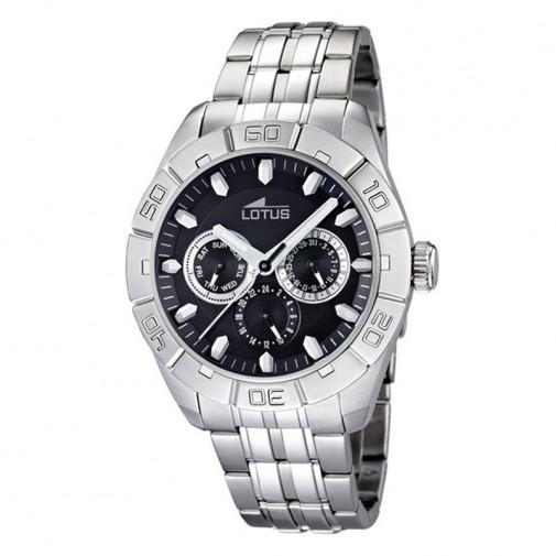 Muški Lotus Multifuncion Crni Sportski ručni sat sa minutnom koronom i metalnim kaišem