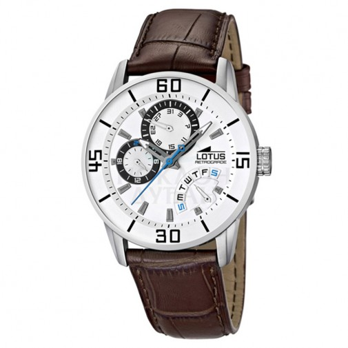 Muški Lotus Retrograde Beli ručni sat sa braon kožnim kaišem