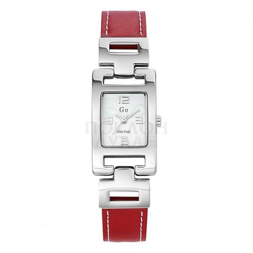 Ženski Girl Only Couleur Beli Modni Kvadratni ručni sat sa crvenim kožnim kaišem