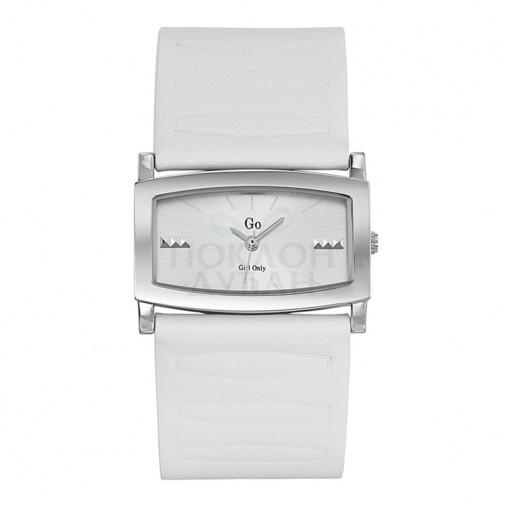 Ženski Girl Only Elegantni Beli Kvadratni ručni sat sa belim kožnim kaišem