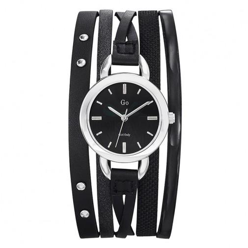 Ženski Girl Only Enlace moi Crni Elegantni ručni sat sa crnim kožnim kaišem