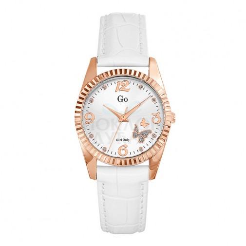 Ženski Girl Only Envole moi Roze Zlatni Elegantni Beli ručni sat sa belim kožnim kaišem