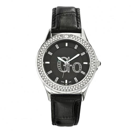 Ženski Girl Only Go Cristaux Crni Modni ručni sat sa crnim kroko kožnim kaišem
