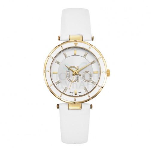 Ženski Girl Only Go Zlatni Modni Beli ručni sat sa belim kožnim kaišem