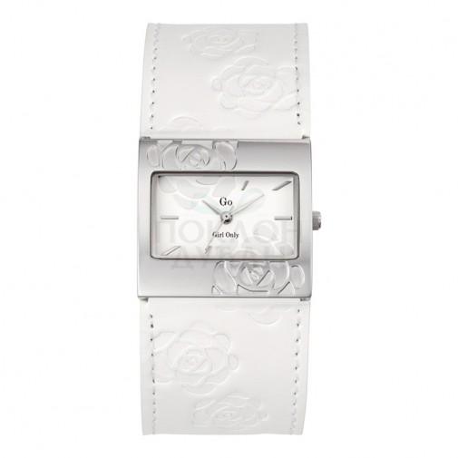 Ženski Girl Only Cvetni Modni Beli Kvadratni ručni sat sa belim kožnim kaišem