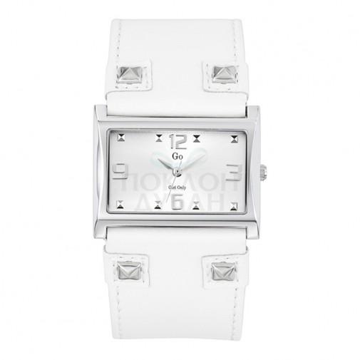 Ženski Girl Only Noir et Blanc Beli Modni Kvadratni ručni sat sa belim kožnim kaišem