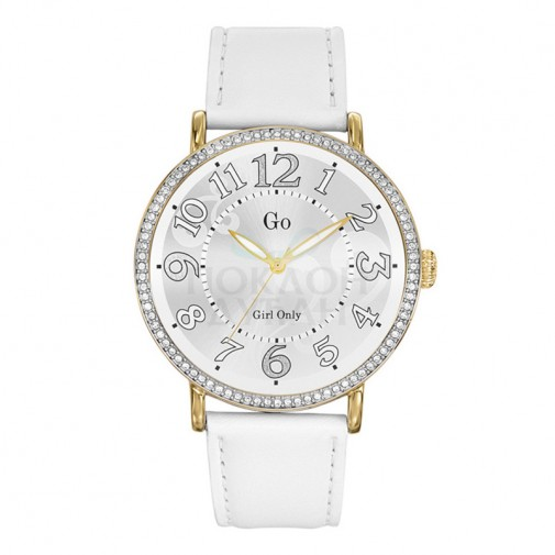 Ženski Girl Only Beli Remplage Zlatni Modni ručni sat sa belim kožnim kaišem