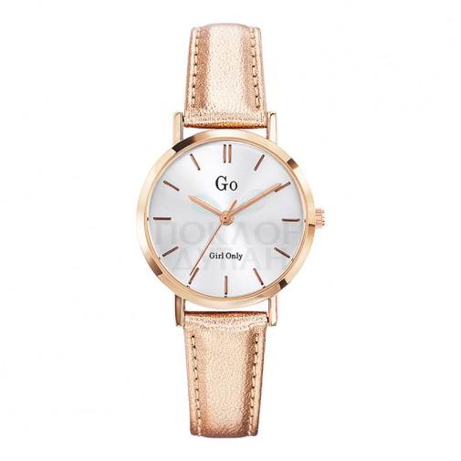 Ženski Girl Only Seduis moi Roze Zlatni Elegantni Beli ručni sat sa roze zlatnim kožnim kaišem