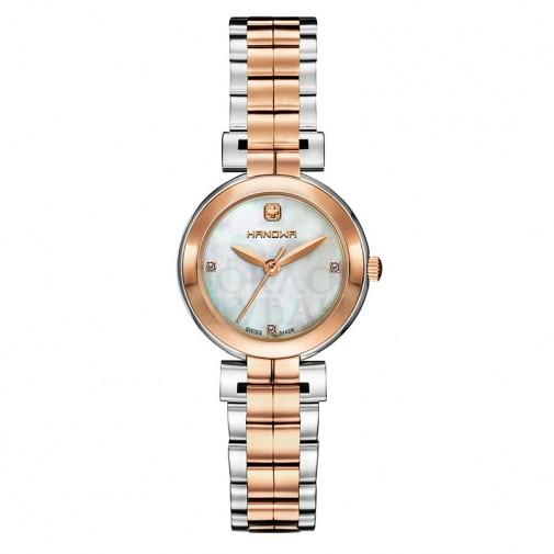 Ženski Hanowa Swiss Chic Tanki Roze Zlatni Beli ručni sat