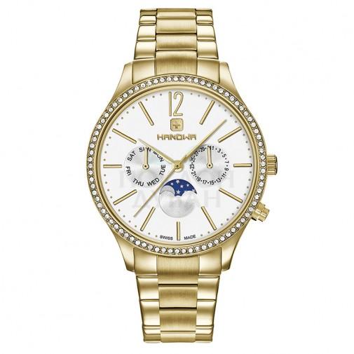 Ženski Hanowa Swiss Leandra Zlatni Beli ručni sat