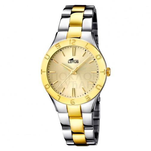 Ženski Lotus Trendy Zlatni Elegantni ručni sat sa bikolor metalnim kaišem