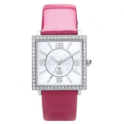 Ženski Royal London Charm Beli Elegantni Kvadratni ručni sat sa rozim kožnim kaišem