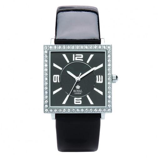Ženski Royal London Charm Crni Elegantni Kvadratni ručni sat sa crnim kožnim kaišem