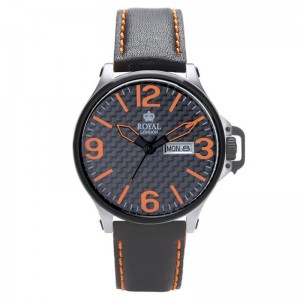 Muški Royal London Sporty Narandžasti Sportski ručni sat sa crnim kožnim kaišem