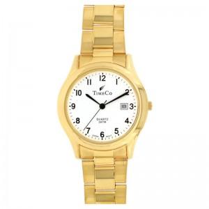 Muški Time Co Datum Zlatni Elegantni ručni sat sa zlatnim metalnim kaišem