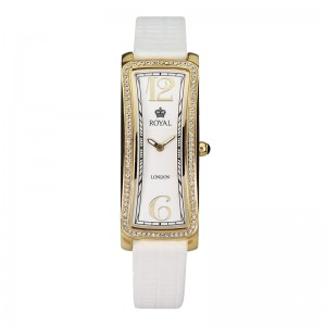 Ženski Royal London Iconic Kristal Zlatni Elegantni Kvadratni ručni sat sa belim kožnim kaišem