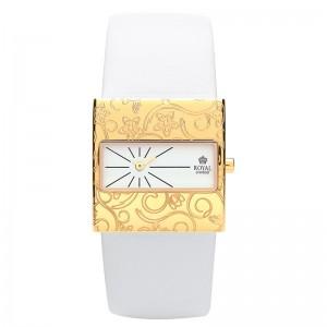 Ženski Royal London Vintage Zlatni Elegantni Kvadratni ručni sat sa belim kaišem