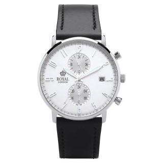 Muški Royal London Iconic Dan-Datum Srebrni Elegantni ručni sat sa mat crnim kožnim kaišem