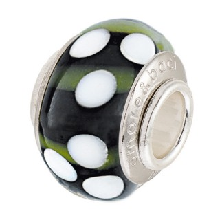 Amore Baci Bele Tufne srebrni Zeleni privezak od murano stakla za narukvicu