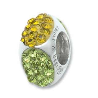 Amore Baci Cubic Žuti srebrni privezak sa swarovski kristalom za narukvicu
