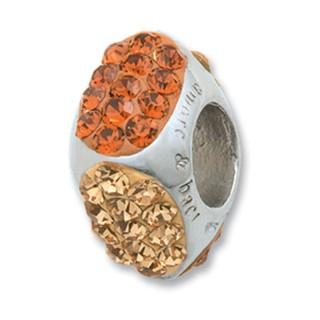 Amore Baci Cubic Narandžasti srebrni privezak sa swarovski kristalom za narukvicu