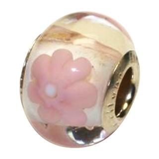Amore Baci Roze Cvet srebrni privezak od murano stakla za narukvicu