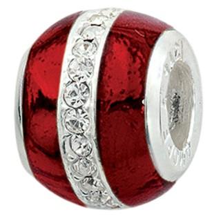 Amore Baci Crveni emajl kristal srebrni privezak za narukvicu