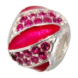 Amore Baci Glamour Pave Roze srebrni privezak sa swarovski kristalom za narukvicu