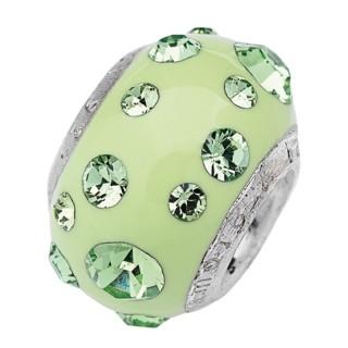 Amore Baci Pastelno Zeleni srebrni privezak sa swarovski kristalom za narukvicu