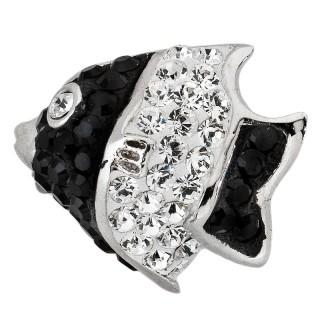 Amore Baci Crno Bela Riba srebrne mindjuše sa swarovski kristalom