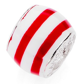 Amore Baci Special Crveno Beli srebrni Emajl privezak za narukvicu