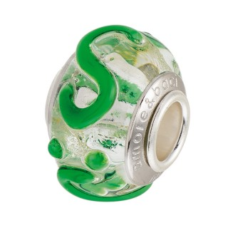 Amore Baci srebrni Zeleno Beli privezak od murano stakla za narukvicu