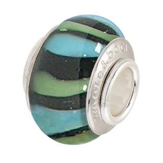Amore Baci Zeleno Plavi srebrni privezak od murano stakla za narukvicu