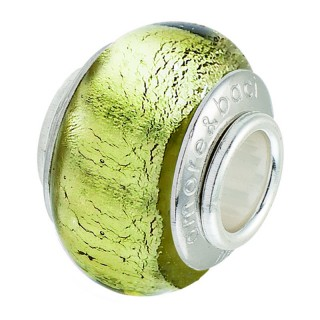 Amore Baci Žuti Sedef srebrni privezak od murano stakla za narukvicu