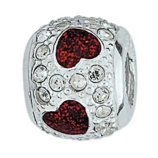 Amore Baci Crveno Srce srebrni privezak sa swarovski kristalom za narukvicu