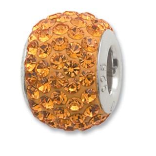 Amore Baci Narandžasti srebrni privezak sa swarovski kristalom za narukvicu