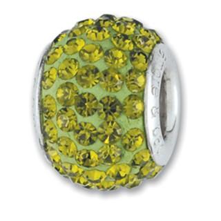 Amore Baci Zeleni srebrni privezak sa swarovski kristalom za narukvicu