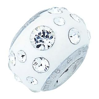 Amore Baci Mat Beli srebrni privezak sa swarovski kristalom za narukvicu