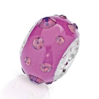 Amore Baci Mat Ljubičasti srebrni privezak sa swarovski kristalom za narukvicu